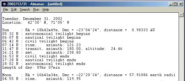 Almanac meridian 90 tv
