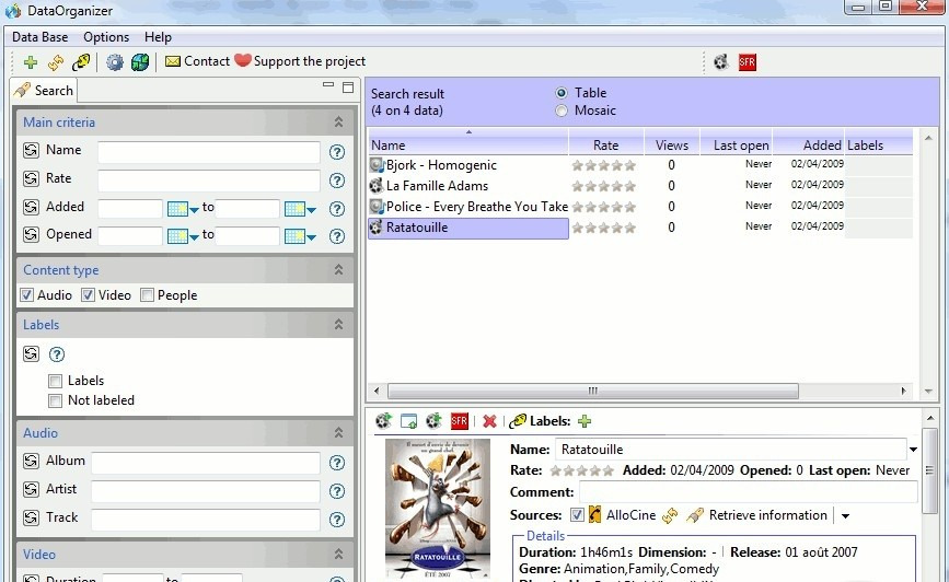 DataOrganizer - It is a free software that allow you organizing your videos and music in the way free sx videos