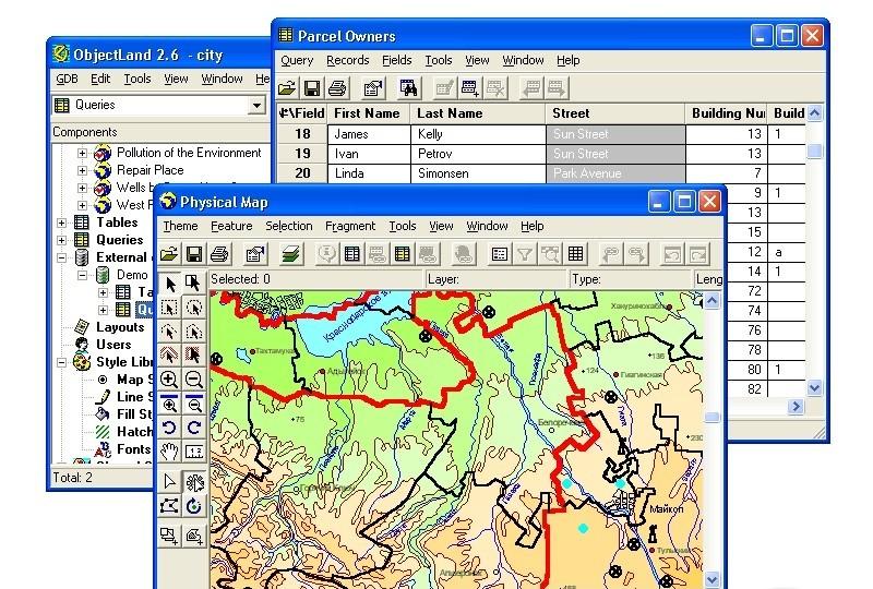 ГИС ObjectLand - универсальная геоинформационная система для Windows. .