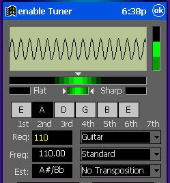 enable TunerCE - Powerful instrument tuner for high-precision tuning on handheld PCs. learn guitar scales