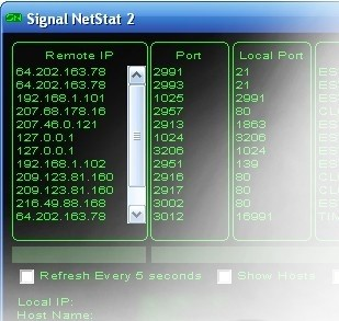 Display incoming and outgoing network connections along with protocol stati