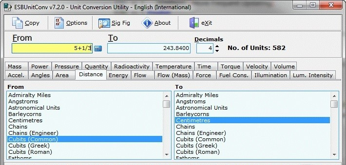 ESBUnitConv Free - User friendly Windows Utility to easily convert between 564 units of measurement
