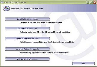 LoneMail Suite 2006 - from collecting your emails to verifying and saving your email lists. create email lists