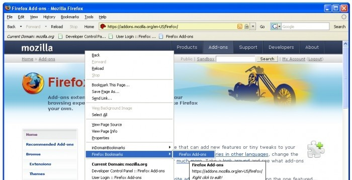 inDomainBookmarks - Add and view your firefox-bookmarks according to domains. christian bookmarks