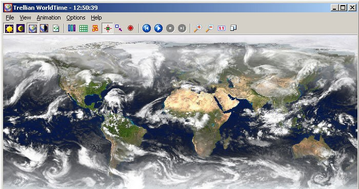 Trellian WorldTime - Satellite image display of world times ambient weather