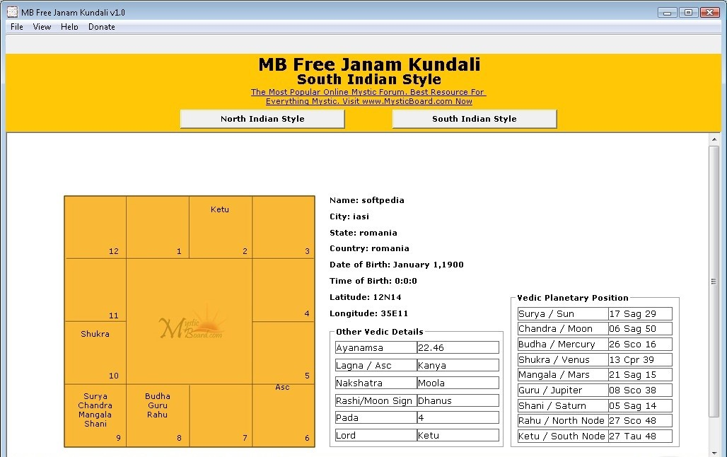 Kannada Jataka Matching Software for Personal Users