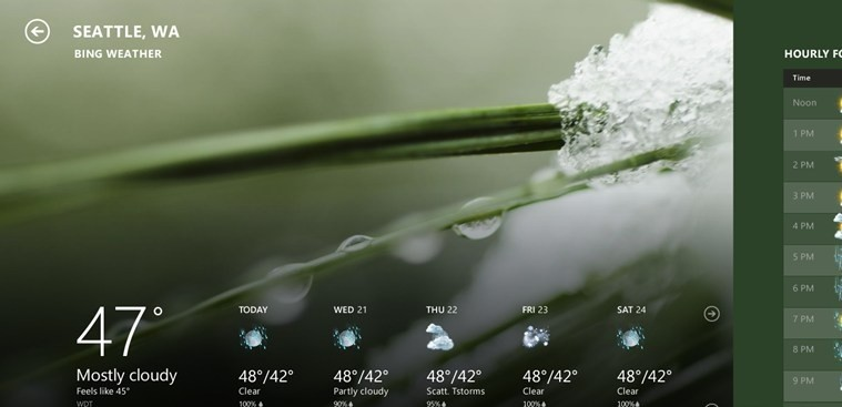 Weather for Windows 8 ambient weather