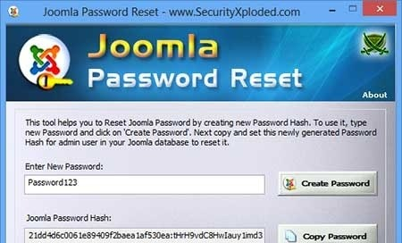 Joomla Password Reset aim password reset