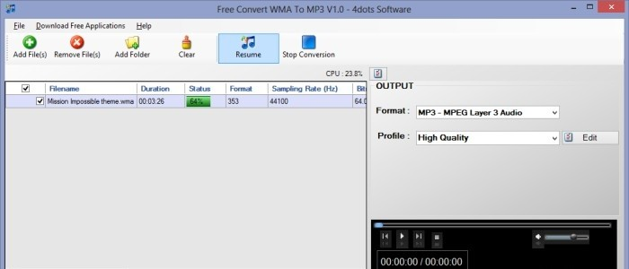 Free Convert WMA To MP3