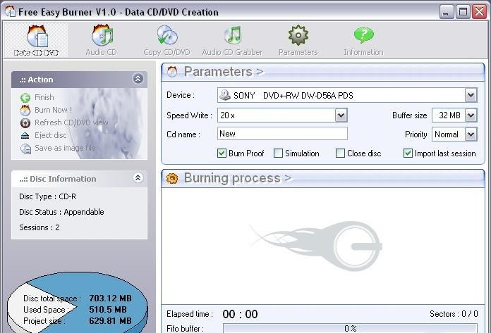 Скриншот Free Easy CD DVD Burner 3.8. screen Free Easy CD DVD Burner