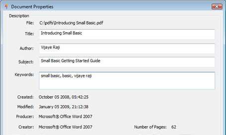 PDF Properties Changer
