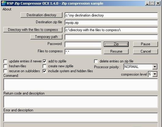 Скачать RSP Zip Compressor OCX 1.4. . 0 бесплатно. . ActiveX OCX to compr