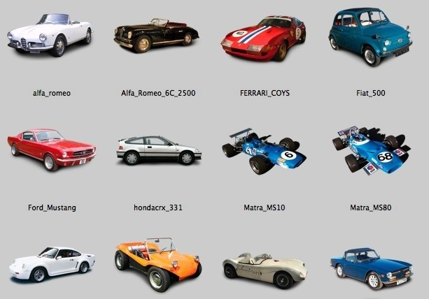 12 Collectors Cars Icons serial corel draw