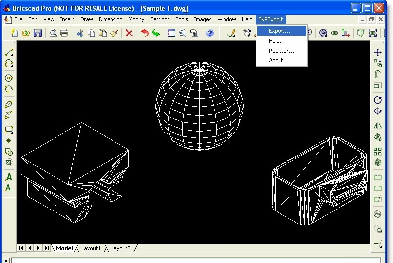 SKP Export for Bricscad - SketchUp SKP file export plug-in for Bricscad.