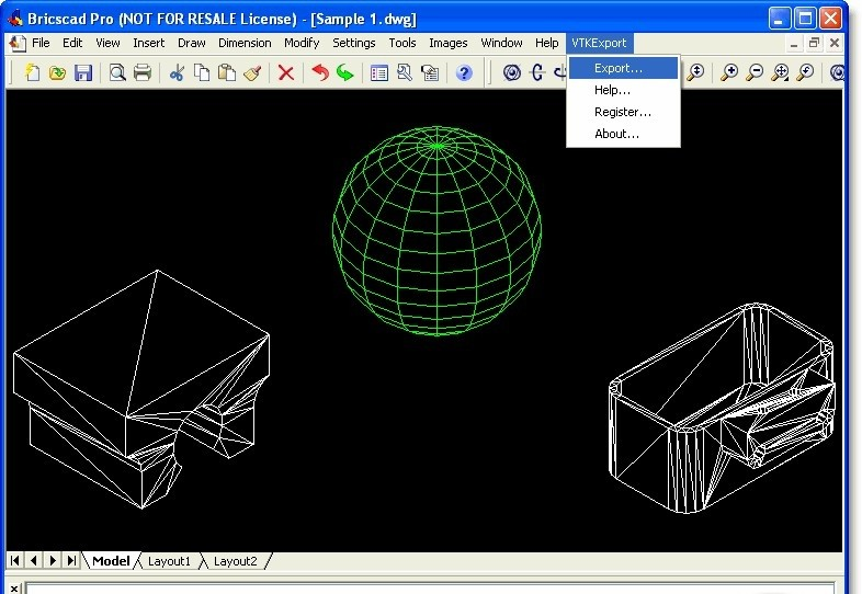 VTK Export for Bricscad - Visualization Toolkit VTK file export plug-in.