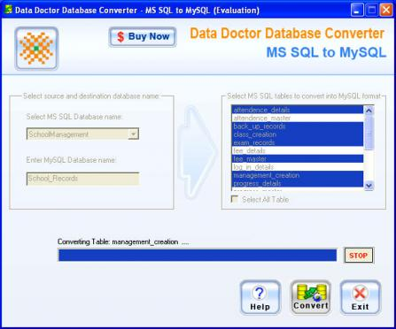 MSSQL to MySQL Migrator - MSSQL to MySQL database migration utility convert attributes of database tables
