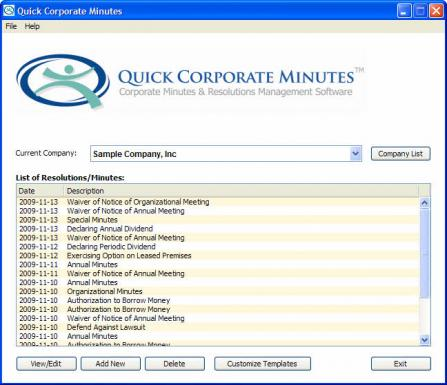 Quick Corporate Minutes meetings