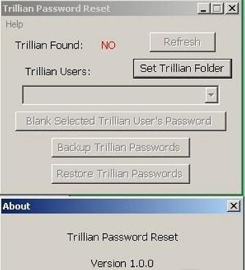 Trillian Password Reset aim password reset