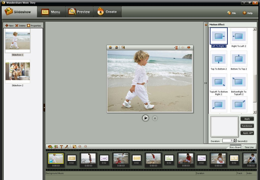 Wondershare Movie Story photo slideshow maker