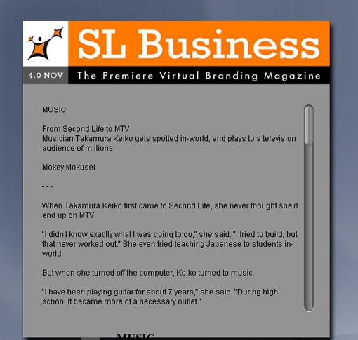SL Business Magazine NOV - The Premiere Virtual Branding Magazine in Second Life.Pick up your digital or... bd magazine
