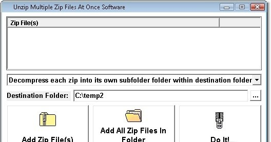 Unzip Multiple Zip Files