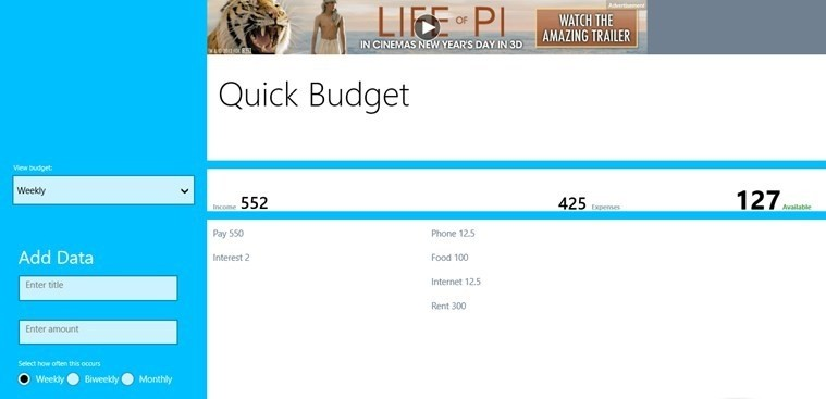 Quick Budget for Windows 8