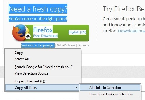 Copy All Links for Firefox