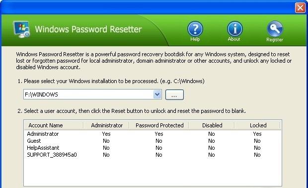 Windows Password Resetter aim password reset