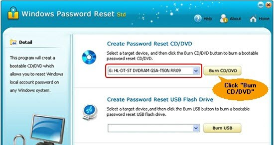 Windows Password Reset Std aim password reset