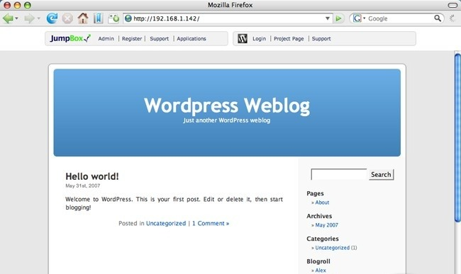 Wordpress Blogging JumpBox