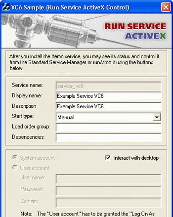 Run Service ActiveX Control