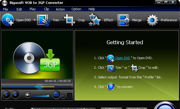 Bigasoft VOB to 3GP Converter