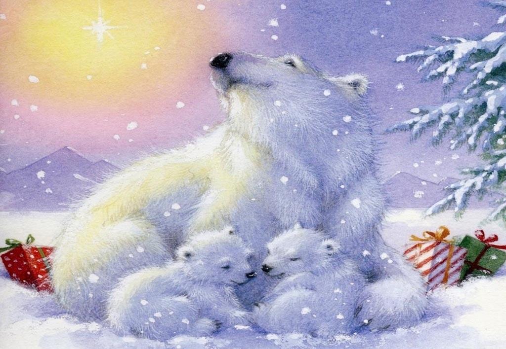 Открытка с белыми медведями