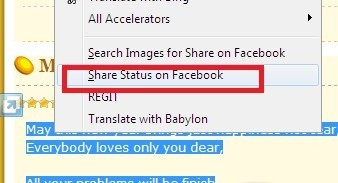 IE Share My Status on Facebook