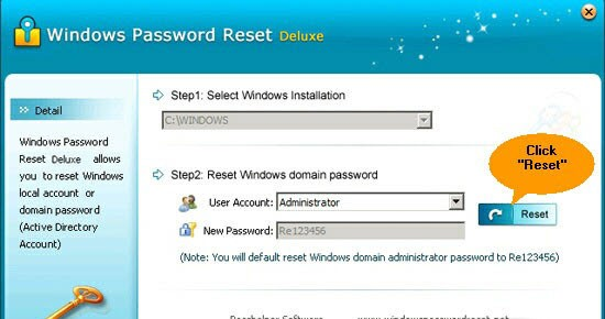 Windows Password Reset Deluxe aim password reset