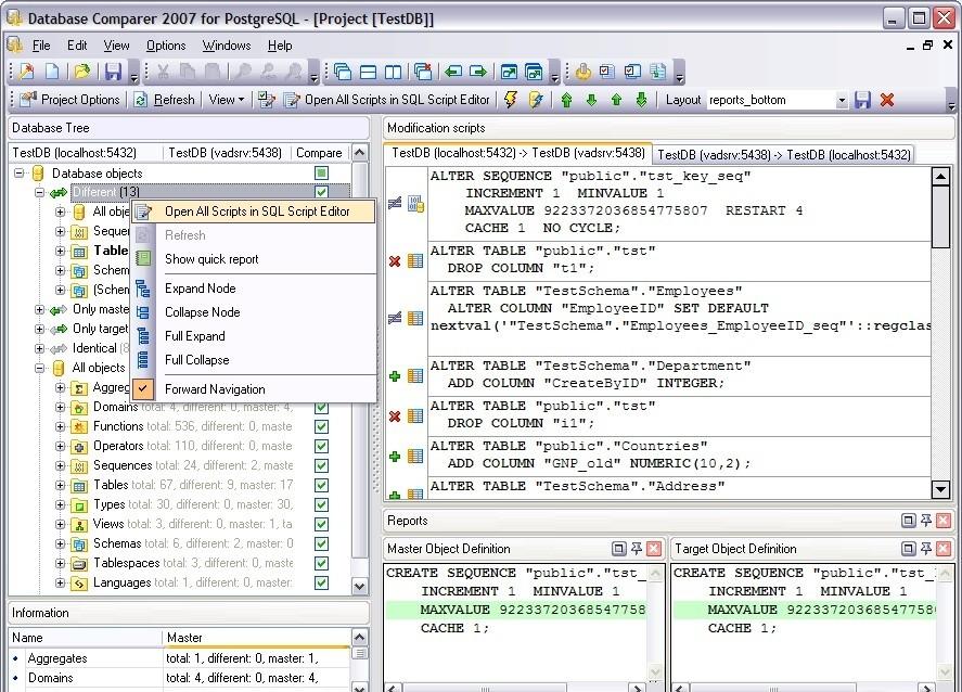 EMS DB Comparer для PostgreSQL это отличный инструмент для сравнения баз да