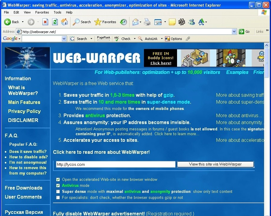 WebWarper - Internet Optimizer descobrindo o alfabeto