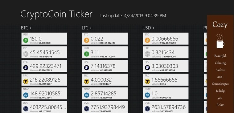 CryptoCoin Ticker for Windows 8
