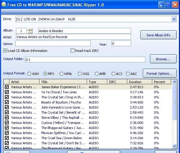 Free CD to WAV/MP3/WMA/AMR/AC3/AAC Ripper - утилита, которая легко и быстро