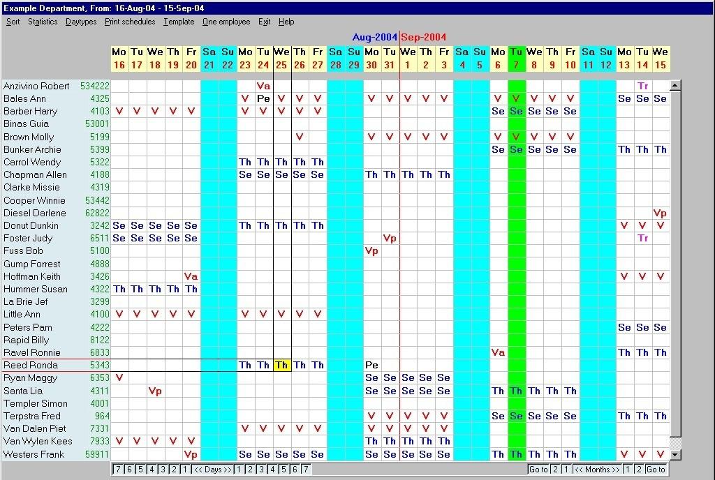 Weekly Employee Schedules Employee Monthly Schedules