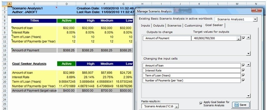 Multi Scenarios Manager for Excel