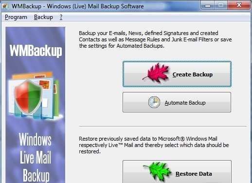 WMBackup - Windows Live Mail Backup