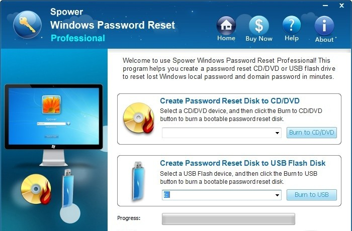 Spower Windows Password Reset Pro aim password reset