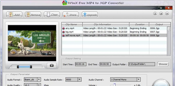 WinX Free MP4 to 3GP Video Converter - Free video converter for converting MP4 videos to 3GP format. free gay tube video