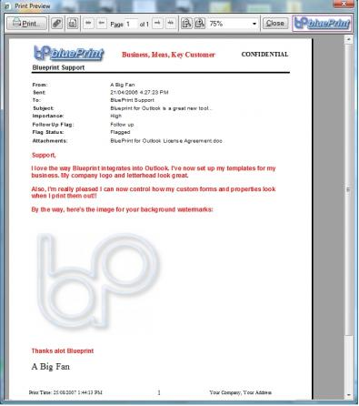 Blueprint for Outlook Professional customized