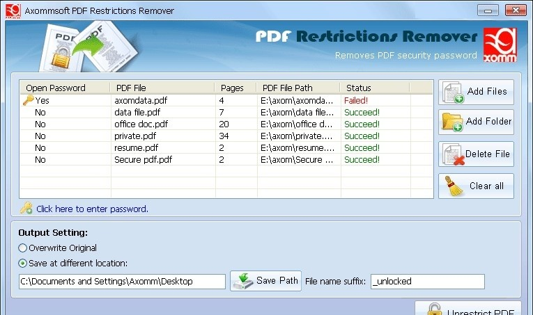 remove pdf restrictions without password
