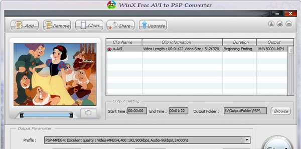 WinX Free AVI to PSP Video Converter - WinX Free AVI to PSP converter can free convert AVI videos for playback on PSP free sx videos
