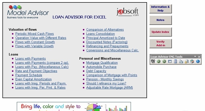 Loan Advisor for Excel (Full Access V.)
