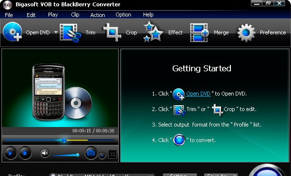 Bigasoft VOB to BlackBerry Converter