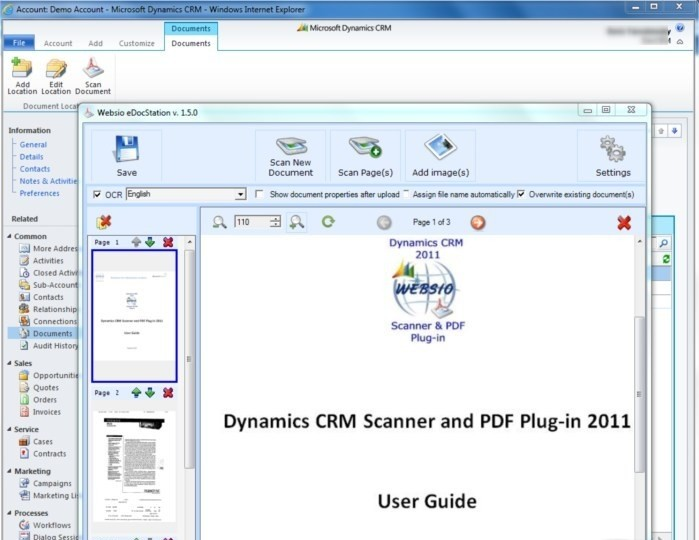 Dynamics CRM Scanner and PDF Plug-in 2011
